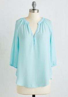These Are My Confections Top - Mid-length, Sheer, Woven, Blue, Solid, Work, Casual, 3/4 Sleeve, Spring, Summer