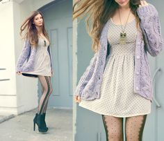 Love Polka Dot Dress, Oasap Owl Necklace, Pepe Jeans Knitted Sweater just get rid of those tights and heels and then adorable outfit Polka Dot Tights, Polka Dots, Fashion Beauty, Fashion Looks, Sheer Tights, Favim, Sweater Fashion, Purple Dress, Passion For Fashion