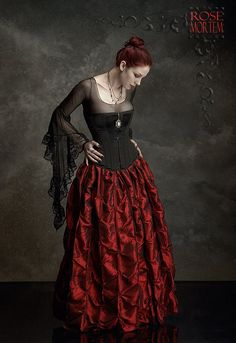 Isabella Skirt in Crimson Taffeta - Victorian Inspired - Custom Elegant Gothic Clothing and Dark Romantic Couture