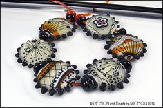 Michou Anderson Lampwork Beads  Black white and by michoudesign, $229.00