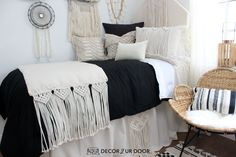 Dorm season is finally here. We are so excited to launch these gorg dorm bedding designs we have been working on for months. This season we're seeing tons of pattern (think palm), texture, macrame, and unexpected fabrics. Of course, neutrals are always a good idea. Dorm Room Headboards, Dorm Bedding Sets, Cute Dorm Rooms, College Dorm Rooms, Dorm Bed Skirts, Dorm Room Designs, Dorm Ideas, Room Essentials, Bed Design