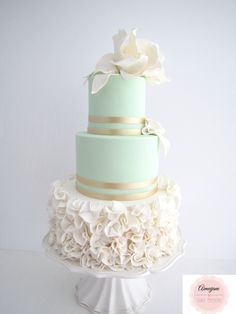 Mint Elegance Wedding Cake - I loved creating this Wedding Cake. Mint and gold with ruffles