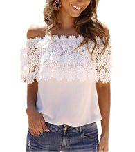Plus Size S-XXL Blusas 2016 Estilo Verão Mulheres Sexy Tops Casual Blusa Ombro Off Chiffon Lace Blusa Floral Camisas Sólidos alishoppbrasil