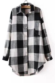 Off White & Black Plaid Boyfriend Oversized Shirt