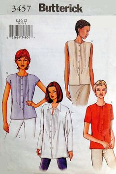 Butterick 3457 Easy Front Button Pintuck Shirt Tops Sewing Pattern Size 20 to 24 #Butterick