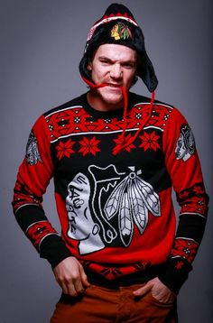 Save on this Speck Big Logo Ugly Sweater and the New Era Moose Trap Alpine Hat today only (Dec. Stop by the Store or give us a call at Blackhawks Store, Blackhawks Hockey, Hockey Teams, Chicago Blackhawks, Hockey Players, Tennis Players, Hockey Baby, Andrew Shaw, Ugly Sweater