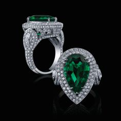 Pear shaped Emerald and Double Halo Diamond Ring with Intricate Diamond Shank: Robert Procop Exceptional Jewels