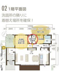 02 1階平面図 洗面所の隣りに着替え場所を確保!