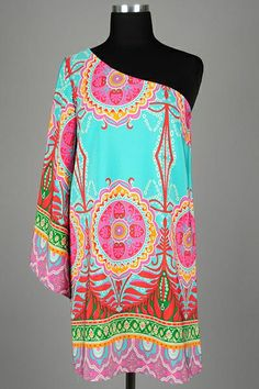 Ethnic Print One Shoulder Dress with Flared Sleeve and Relaxed A-Line Silhouette by Zen Spell.