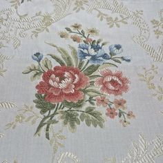 Exceptional Victorian Bouquet Lampas Upholstery Fabric Made in France $850 value