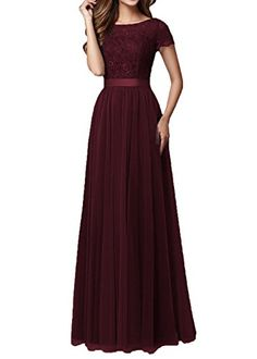 37a384f905d DYS Women s Lace Bridesmaid Dress Sleeves Tulle Prom Evening Dresses Long  Burgundy US 18Plus