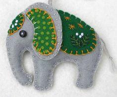 Handmade Felt Elephant Ornament, Elephant Christmas ornament