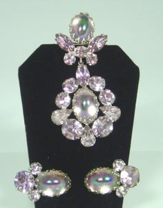 Regency Pale Pink Rhinstone Brooch and Earring Set