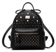 ad3f89fecf Santwo Women s Mini Rivets Waterproof Pu Leather Shoulder Bag Casual Day...  Leather Backpack
