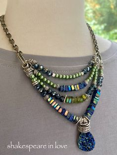 Shop link is in my bio, thanks for looking! Bohemian Necklace, Beaded Necklace, Beaded Bracelets, Etsy Jewelry, Handmade Jewelry, Jewlery, Jewelry Necklaces, Xmas Gifts For Her, Blue Crystals
