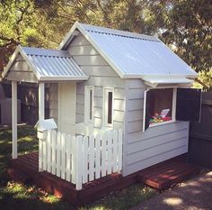 A charming addition to any backyard the Spenser cubby house looks beautiful in weatherboard and with our shop servery. Get in touch today! Kids Cubby Houses, Play Houses, Cubby House Plans, Wooden Playhouse, Playhouse Ideas, Backyard Playground, Dog Playground, Hot Tub Garden, Wendy House