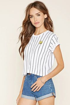 Striped Happy Face Tee #thelatest