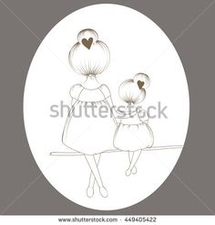 stock-vector-mother-and-daughter-are-sitting-on-a-branch-of-the-tree-449405422.jpg (450×470)