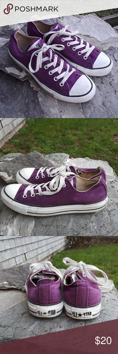 Converse Chuck Taylor low Terrific addition beautiful grape purple color no rips or stains tread has a lot of life left fun shoe Converse Shoes Sneakers