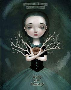 Items similar to Empty Nest print -- Daphne, bird egg bird nest, melancholy art emotional illustration of girl dark fairytale by - Meluseena on Etsy - - Illustrations, Illustration Art, Arte Lowbrow, Illusion, Dark Fairytale, Creepy Cute, Creepy Kids, Pop Surrealism, Modern Surrealism