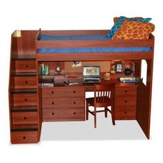 Utica Full Loft Bed with Stairway
