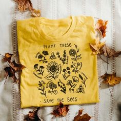 White crewneck sweatshirt as well Plant These, Save The Bees - Tee - Medium / Gold / Unisex Shirts & Tops, Urban Fashion, Mens Fashion, Street Fashion, Save The Bees, Street Style Women, Style Men, Street Styles, Fashion Over