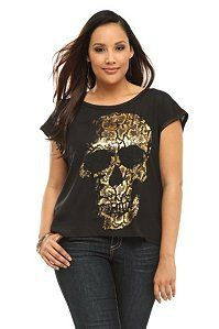 Black And Gold Skull Sleeveless Dolman Top | Show Your Bones
