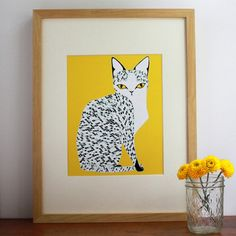 I like the idea of grouping these 3 cat pictures together -- Yellow Mau Cat, $26, now featured on Fab.