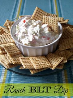 Ranch BLT Dip #Recipe Appetizer Dips, Appetizer Recipes, Dip Recipes, Party Recipes, Energy Snacks, Recipe Collection, Slow Cooker Recipes, Yummy Food, Tasty