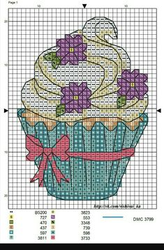 Cupcake with Purple Flowers Cupcake Cross Stitch, Cross Stitch Fruit, Cross Stitch Kitchen, Cross Stitch Boards, Mini Cross Stitch, Cross Stitch Kits, Cross Stitch Designs, Cross Stitch Patterns, Cross Stitching