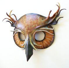 Horned Owl Leather Mask by teonova on Etsy