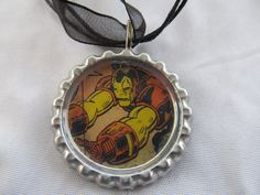 OOAK Iron Man bottle cap necklace with cord - Avengers. $5.99, via Etsy.