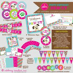 Puppy PAWTY  Dog Theme Birthday Party  by inkberrycards on Etsy, $29.00