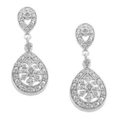 Sterling Silver 1/10ct TDW Diamond Dangle Earrings (I-J, I1-I2) | Overstock.com