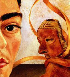 1945 Frida Kahlo Autoportrait au Singe, détail le masque, Self-portrait with the Monkey, detail the mask. #Art #Mexico #deFharo