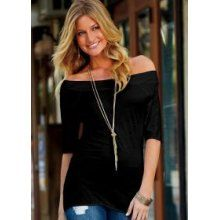 Another off shoulder black top I'd wear with a black, white or gray tank underneath.