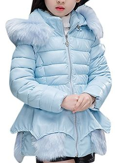 Luodemiss Girls Cute Double Breasted Wool Short Dress-Coat Warm Thick Outwear with Fur Trim Hood