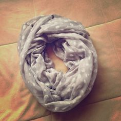 Gray and white scarf Super cute gray and white polka dot infinity scarf. Accessories Scarves & Wraps