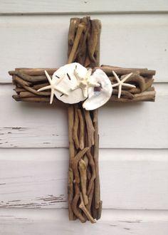 Driftwood Seashell Cross/Beach Wedding by MyHoneypickles on Etsy