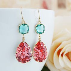 Rose Peach with Blue Zircon Swarovski Crystal by earringsnation