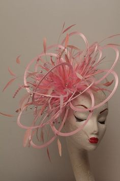 Etsy's MaighreadStuart Large Pink Rhinestone Diamante Feather Fascinator Hat - wedding, ladies day - choose any colour feathers & satin. Millinery Hats, Fascinator Hats, Fancy Hats, Silly Hats, Metal Headbands, Kentucky Derby Hats, Baby Yellow, Pink Hat, Love Hat
