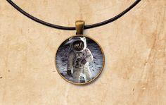 Astronaut pendant Moon jewelry Astronomy by SleepyCatPendants