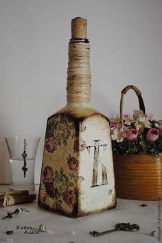 Купить Бутылки декоративные - винтаж, винтажный стиль, Декоративная бутылка, бутылка для масла, подарок