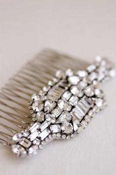 CLEMENTINE Rhinestone Comb Crystal Comb Bridal by percyhandmade
