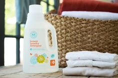 $12.95 Natural, Green Laundry Detergent   The Honest Company. 2x Ultra Concentrated  70 fl. oz.  70 HE Loads  Free & Clear  Septic tank and graywater safe. Perfect for babies & sensitive skin. Naturally Non-Toxic • Hypoallergenic • Biodegradable • pH Balanced