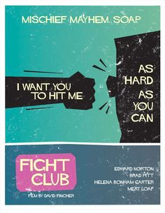 Fight Club  Saul Bass Style Print 12x16 by Wonderbros on Etsy
