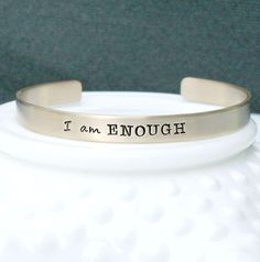 I am Enough  Gold Inspirational Bracelet  by 3LittlePixiesShoppe