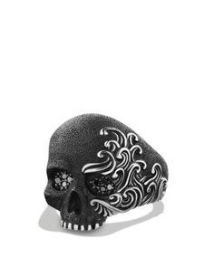 David Yurman Waves Large Skull Ring with Black Diamonds  Bloomingdale's
