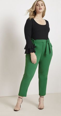 View our Slim Fit Trouser with Tie Waist and shop our selection of designer women's plus size Pants, clothing and fashionable accessories. Plus Size Tips, Look Plus Size, Plus Size Pants, Plus Size Dresses, Plus Size Outfits, Work Dresses, Fall Dresses, Peplum Dresses, Dresses Uk