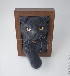 Needle felted cat in frame panel. LOVE!! by Yulia Ponomareva from Russia
